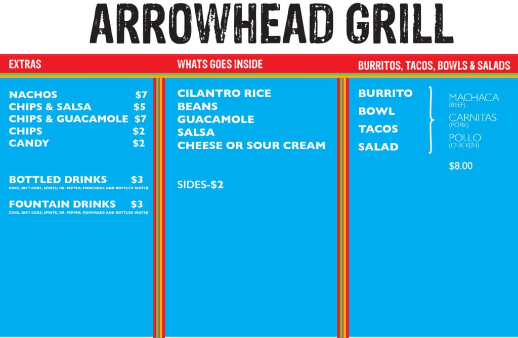 arrowhead grill menu